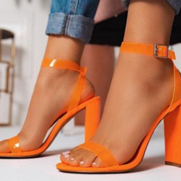 Hot selling sexy high heel chunky heels with a word with orange sandals