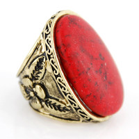 Vintage Retro Goldtone RED Natural Turquoise by JuliesJewelryStore