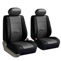 FH-PU001102 PU Leather Car Front Bucket Seat Covers Gray / Black color