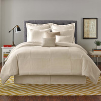 Real Simple® Linear Patchwork Comforter Set in Stone