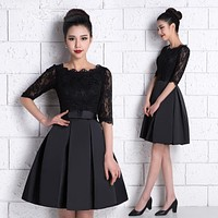 Custom Made Black Burgundy Lace Half Sleeve Cocktail Dresses 2017 Knee Length Cocktail Dress Short Formal Party Prom Gowns