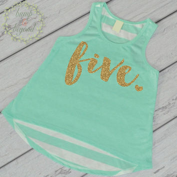 Fifth Birthday Shirt Girl Five Year Old Birthday Shirt 5 Birthday Shirt Girl 5th Birthday Outfit Girl Green Tank Top 102