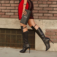 Blake Black Leather Open Toe Boot