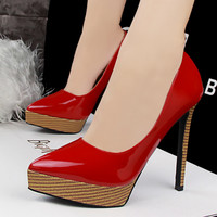 ultra-high heel waterproof women wood grain  heel