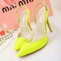 Fashion New Women Stiletto Heels Buckle Slingbacks Sandals Pointed Toe Shoes 1nR