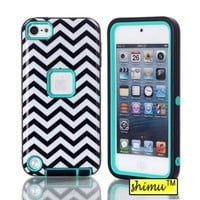 Ipod Touch 5 Case, Ipod Touch 5 Hard Case,High Impact Plastic Hard Back Case By Shimu Hybrid Wave Print Soft Case Cover Light Blue