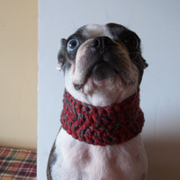 Red Dog Cowl scarf hand crocheted red and grey neck warmer winter dog scarf, Boston Terrier