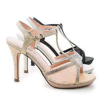 Marcie28 By Blossom, Lace & Rhinestone T-Strap Sling back Stiletto Sandals