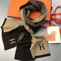 """Hermès"" Gentleman Elegant Fashion Multicolor Letter Knit Cashmere Shawl Men Scarf"