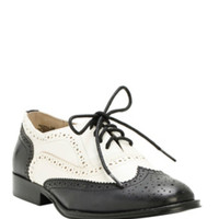 Black & White Saddle Oxford Wingtip Shoes
