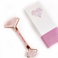 Crystal Heart Rose Quartz Facial Roller