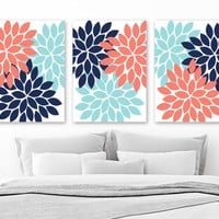 FLOWER Wall Art, Coral Navy Aqua Bedroom Wall Decor, Teen Bedroom CANVAS or Print Coral Navy Flower Bathroom Decor, Set of 3 Dorm Room