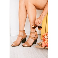 One Step Ahead Braided Strap Block Heels (Camel)