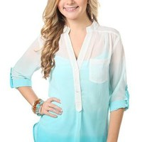 three quarter sleeve ombre equipment shirt - debshops.com