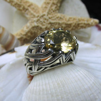 Sterling Silver Yellow Citrine Woven Dome Ring 9.88g Size 6