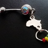Africa 14 gauge stainless steel belly navel ring, body jewelry, 14g