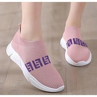 FENDI Hot Sale Women Casual Breathable Knit Running Sport Shoes Sneakers Pink(White Sole)