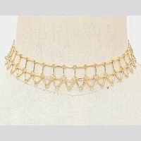 Gold Geometric Chain Choker