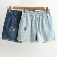 2016 summer Short Denim Shorts Casual Bunny Rabbit embroidery Loose Solid Sky& Navy blue Washed Korea Mori Girl Style Bottoms