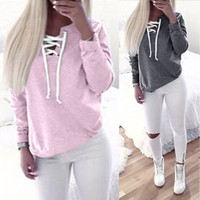 Autumn Clothing Lace Up Sweatshirt Women Tops Pleated Long Sleeve Pink Cotton V Neck Winter Sweatshirt Warm Hoodies Girl [8802261068]