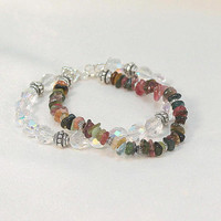 Tourmaline and crystal multi double 2 strand bracelet, crystal wedding bracelets, gift for her.