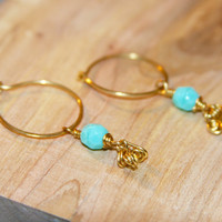 Teal Beaded Hoops, Gold Filled Hoops, Sterling Silver Hoops, Small Cartilage Hoop Earrings.