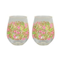 Lilly Pulitzer - Stemless Acrylic Glass Set, Jungle Tumble