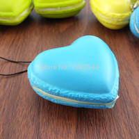 Frech Heart Squishy Macaroon Soft Bread Phone Straps Squishy Key Chains
