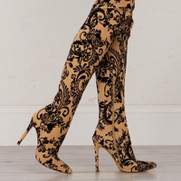 Over The Knee Floral Textured Boots in Black and Nude