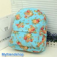 Floral pattern denim picnic girl backpack - Myfriendshop