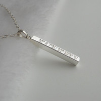 Vertical Cube Bar Necklace,Silver Latitude longitude Necklace,Engraved Coordinates Necklace,GPS Coordinates Necklace,Long Bar Jewelry