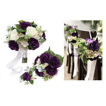 Bouquet Corsage Boutonniere Pew Flowers Shades of Purple Cream White Greenery