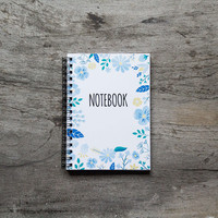 Flower notebook, spiral notebook journal, lined notebook, pocket notebook, blank book pages, travel accessories, favor spring floral art