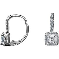 2CT TW Asscher Diamond Veneer Cubic Zirconia Sterling Silver Lever Back Earrings. 635E15785