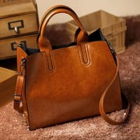 Real High Quality Durable Leather Fashion Women Shoulder Tote Hand Bag