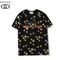 GUCCI New fashion letter stripe more star moon print couple top t-shirt Black