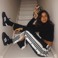ADIDAS ORIGINALS Adibreak striped satin-jersey track pants