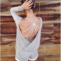 2016 Trending Fashion Women Backless Long Sleeve Sexy Erotic  Top _ 10376
