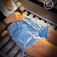 High waisted jean shorts distressed denim shorts by Jeansonly = 1929732676