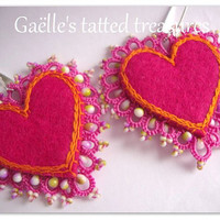 lace heart earrings handmade tatted earrings, felt embroidered , fuchsia original design earrings, cyclamen dangle earrings