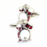 Drum Kit Cufflinks for Men's French Shirt party/holiday for Music Jazz Drum Fans