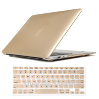 Free Shipping Champagne Gold Hard Case Cover + Keyboard Cover For Macbook Air 11 13 / Pro 13 15 + Retina
