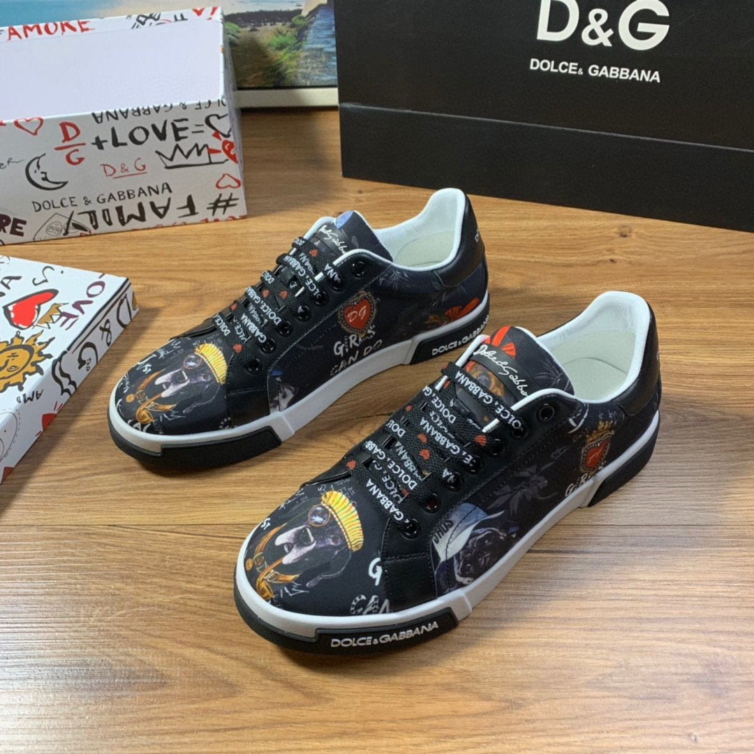 Image of D&G DOLCE & GABBANA Men's And Women's Leather Fashion Low Top Sneakers Shoes