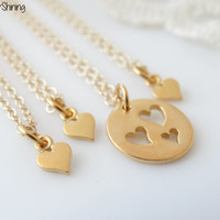 Mother Daughter Necklace Set GOLD Mother necklace Mother daughter jewelry Mothers day Mom necklace  Heart Necklace