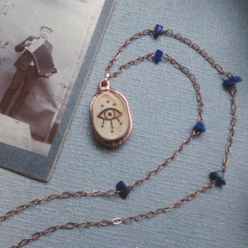 all seeing eye necklace • copper lapis lazuli necklace - witch necklace - mystic jewelry - long copper necklace - made in finland