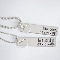 His One, His Only - WITH DATE - Gay Couples Jewelry - Hand Stamped Stainless Steel LGBT Necklace Set - Sterling Silver Heart Charm