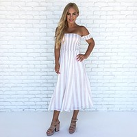 Mykonos Pin Stripe Jumpsuit in Mocha