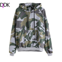 DIDK Women Army Green Camo Print Zip Hooded Pullover Sweatshirt With Pocket Autumn Ladies Casual Long Sleeve Hoodie