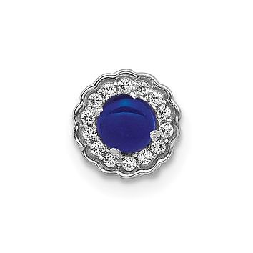 14k White Gold Real Diamond and Cabochon Sapphire Chain Slide
