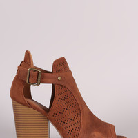 Qupid Perforated Open Cut Booties